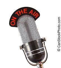Retro microphone used for radio, talk back, news broadcasts