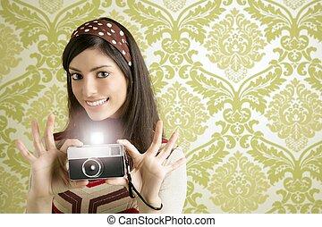 Retro photo camera woman green sixties wallpaper