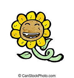 retro sunflower cartoon