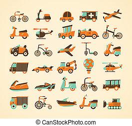 retro transport icons set