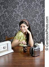 Retro woman drinking cafe on wallpaper kitchen