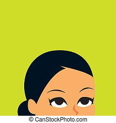 Retro Woman Looking Up illustration