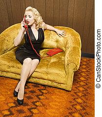 Retro woman on phone.