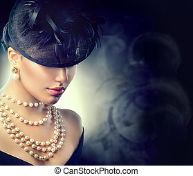Retro woman portrait. Vintage style girl wearing old fashioned hat