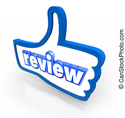 Review word on a blue thumbs up symbol to illustrate a good or positive rating or comment from a customer, visitor or reader