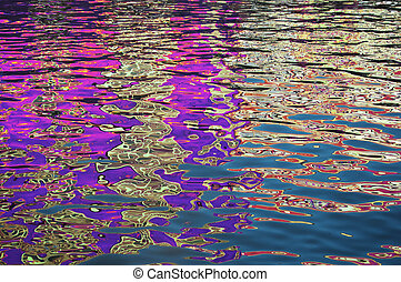 Close up on rippled surface of a body of water reflecting many bright colours