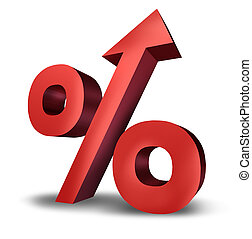 Rising interst rates symbol with a dimensional red percentage sign pointing upward as an icon of success or increasing financial payments and taxes on a white background.
