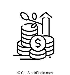 Rising price line icon, concept sign, outline vector illustration, linear symbol.