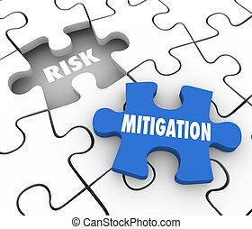 Risk Mitigation Puzzle PIeces Reduce Danger Security Problem