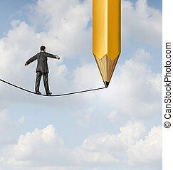Risk planning and leadership solutions with a businessman walking on a dangerous tight rope with a pencil drawing the future path with the road ahead as a business concept of adapting to change for success.