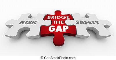 Risk Vs Safety Bridge the Gap Puzzle Pieces 3d Illustration