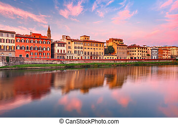 River Arno at sunset in Florence, Italy