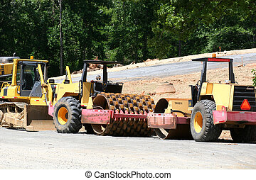 Road construction heavy equipment