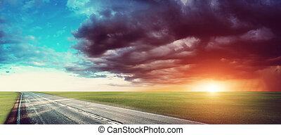 Road panorama hurricane