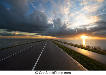 road towards the sunset