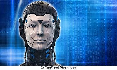 Robot woman technology Background - 3d rendering wallpaper