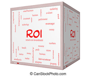 ROI Word Cloud Concept on a 3D cube Whiteboard