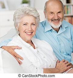 Romantic elderly couple