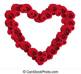 Romantic heart of red roses on a white background