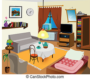 Room interior color illustration. All objects are there. Ideal for visual dictionary.