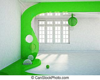room with a big window,