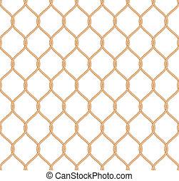 Rope marine net pattern seamless vector on white background