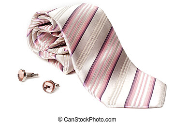 Rose striped tie and cuff links with stone insulated on white background