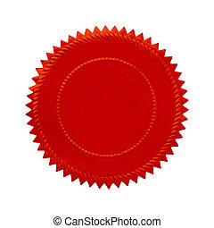 Round Oranate Red Seal With Copy Space Isolated on White Background.