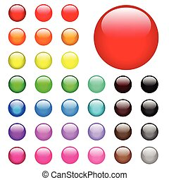 Illustration of colorful round web buttons on a white background