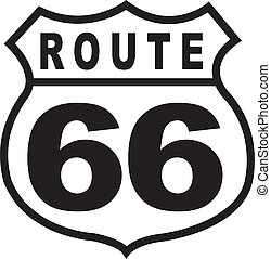 Route 66 highway sign clip art in retro or vintage 1950s style.