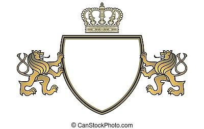 Royal lion coat of arms heraldry emblem - vector illustration.eps
