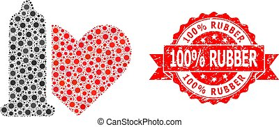 Rubber 100% Rubber Stamp and Covid Mosaic Safe Love
