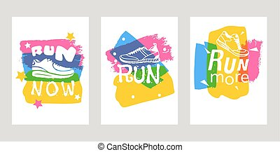 Run lettering on running shoes vector sneakers or trainers cards with text signs for typography illustration set of runners inscriptions run now. Motivation training motion poster.