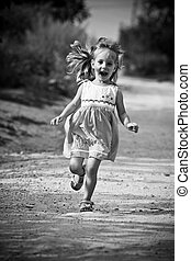 running open arms little happy girl