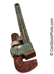 Rusty adjustable spanner on a white background