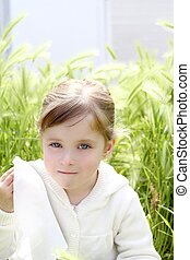 sad little girl crying outdoor green meadow field