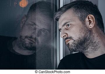 Sad man with depression