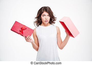 Sad woman holding empty gift box