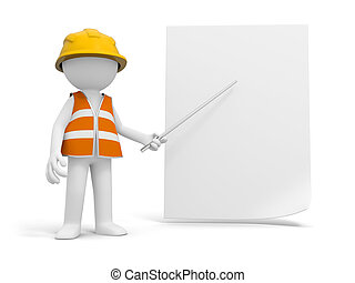 A 3d safety worker pointing at the paper with a stick
