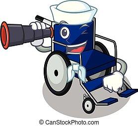 Sailor with binocular cartoon wheelchair in a hospital room
