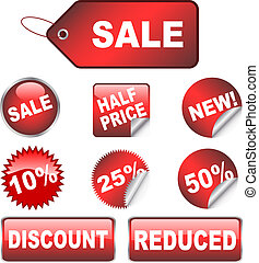 Various discount stickers and labels
