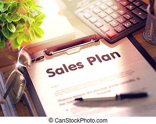 Sales Plan on Clipboard. 3D.