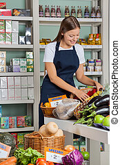 Beautiful young saleswoman working in supermarket