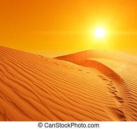 Beautiful sunset over the sand dunes in the Sahara desert, Tunisia
