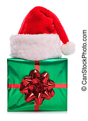 Santa Claus hat and gift wrapped present