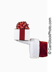 Santa Holding a Gift