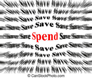 Black and white words with red word save and spend