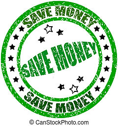 Stamp with text save money inside, vector illustration