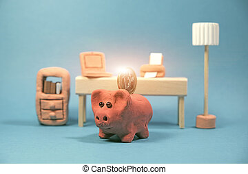 Save money with clay piggy bank financial concept