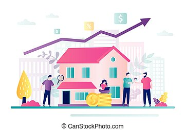 Saving money concept. Company or investment fund invests in real estate. Buying property, capital increase.